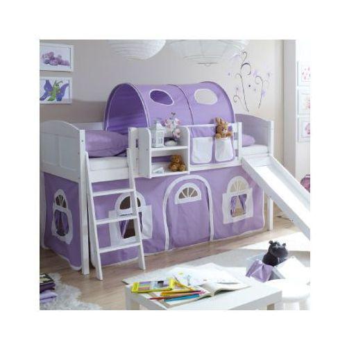 TICAA Łóżko ze zjeżdżalnią EKKI sosna white Country kolor fioletowy/biały (4250393873453)