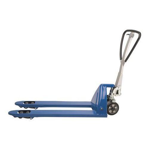 Eurokraft Paletowy wózek podnośny, bardzo długi, dł. wideł 1500 mm, niebieski. tłok chromo