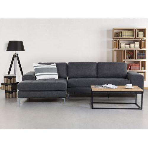 Sofa ciemnoszara - sofa narożna - tapicerowana - KIRUNA