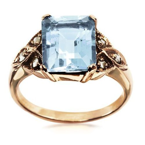 Kolekcja Wiktoriańska - pierścionek z diamentami i akwamarynem, kolor niebieski