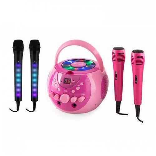 Auna singsing zestaw do karaoke różowy + kara dazzl zestaw mikrofonów led (4060656077944)