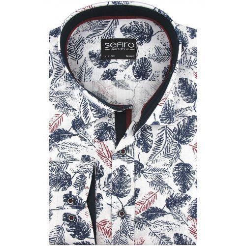 Lniana koszula męska biała w granatowe liście slim fit na długi rękaw a148, Sefiro