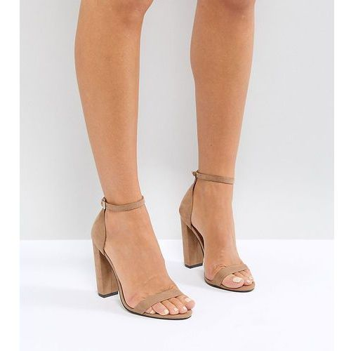 design highball barely there block heeled sandals - beige, Asos