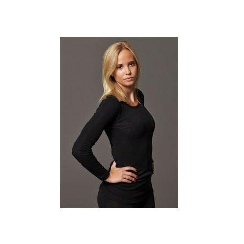 Koszulka damska z wełny merynosów (100%) - długi rękaw - kremowa i czarna - dilling marki Dilling (dania)