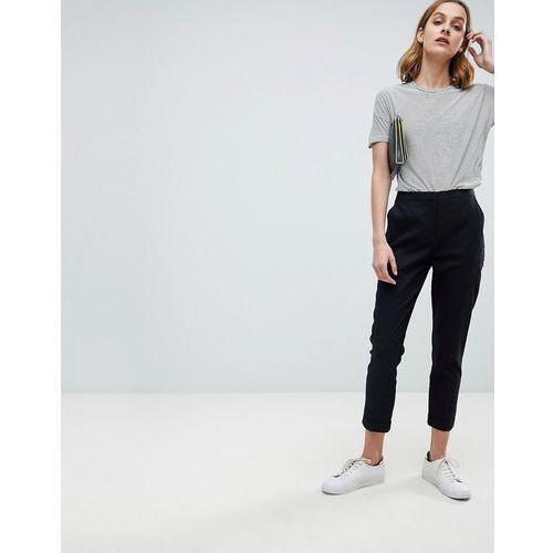tailored linen cigarette trousers - black, Asos