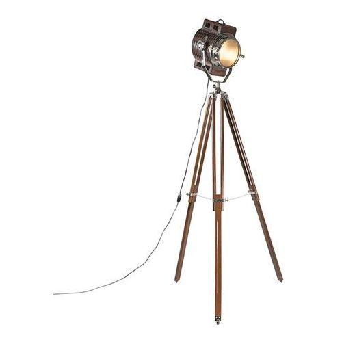Qazqa Lampa podlogowa tripod camera brazowa skóra z drewnem