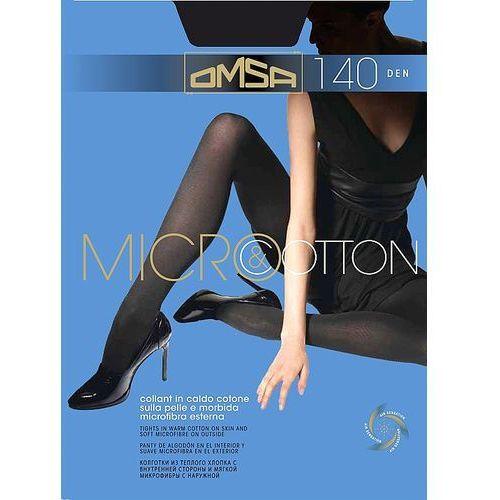 Rajstopy Omsa Micro & Cotton 140 den 4-L, czarny/nero, Omsa, bawełna