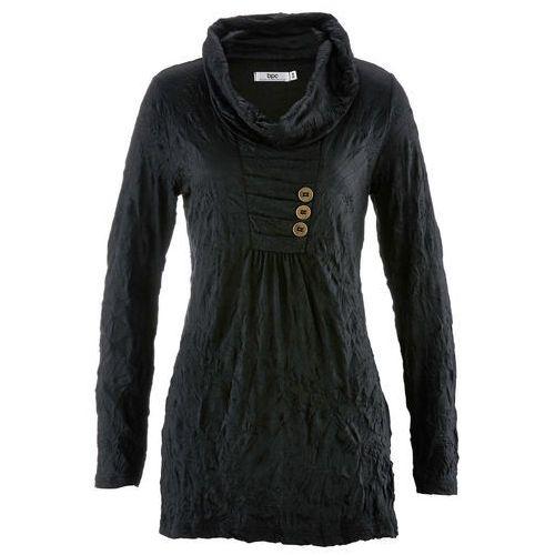 Tunika kreszowana, długi rękaw czarny, Bonprix, 48-50