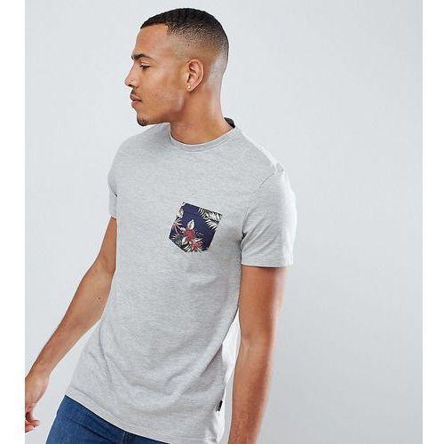 Burton Menswear Tall T-Shirt With Floral Pocket In Grey Marl - Grey