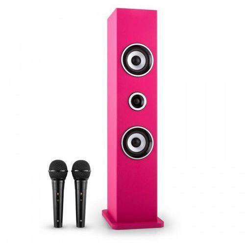 Auna Karaboom głośnik bluetooth zestaw karaoke 2 mikrofony różowy