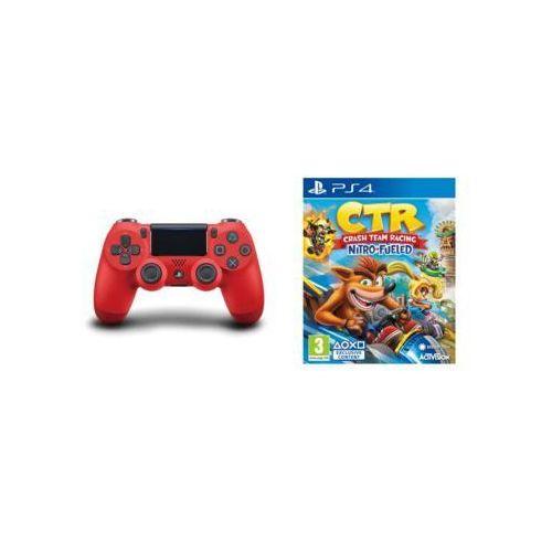 Kontroler bezprzewodowy SONY PlayStation DUALSHOCK 4 v2 Czerwony + Crash Team Racing Nitro-Fueled (5902002093392)