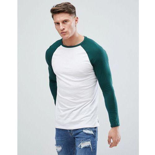 Bershka raglan baseball long sleeves t-shirt in green - white