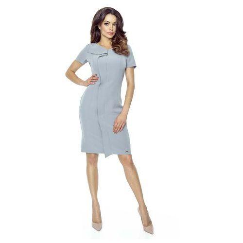Bergamo Szara sukienka elegancka mini z plisą