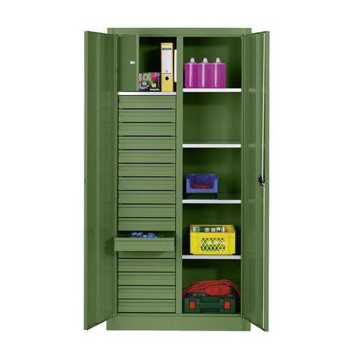 Cp Szafka na materiały z blachy stalowej,4 półki, 16 szuflad, 1 schowek
