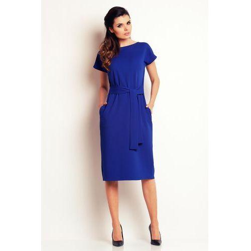 Niebieska prosta midi sukienka z wiązanym paskiem, Awama, 36-42