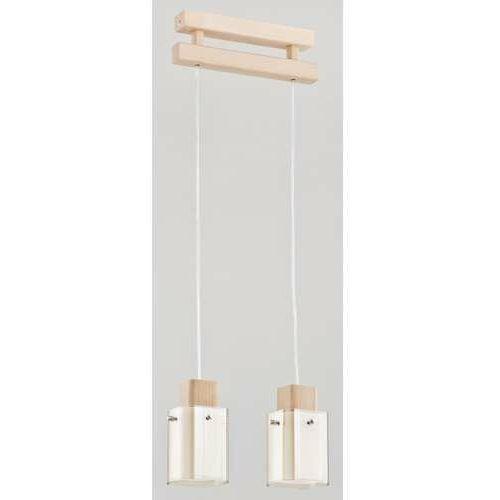 Alfa anabell 2452201 lampa wisząca zwis 2x40w e14 biały/drewno (5900458245228)