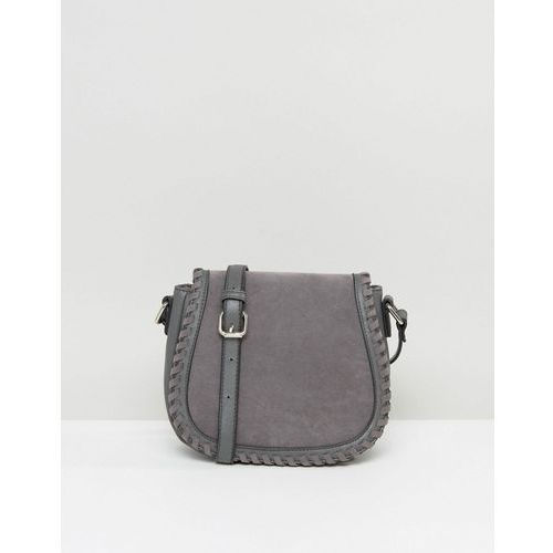 French Connection Stitched Saddle Bag - Grey