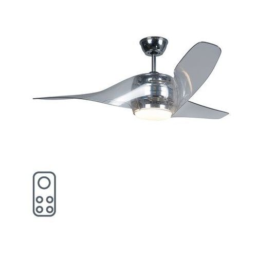 Wentylator sufitowy chrom w tym LED z pilotem - Sirocco 50