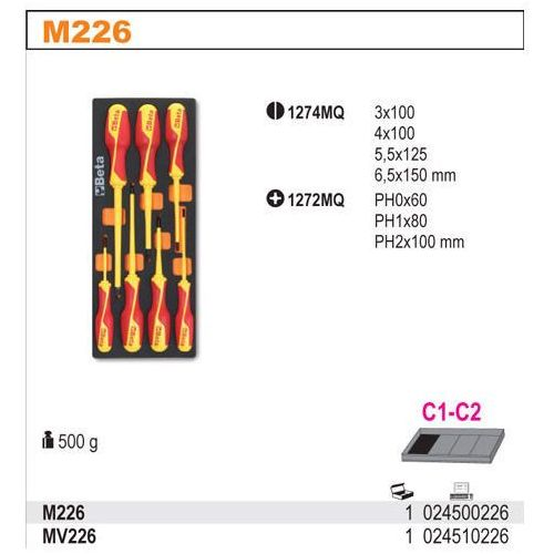 Wkład profilowany miękki do zestawu narzędzi 2450/m226, pusty, model 2451/mv226 od producenta Beta