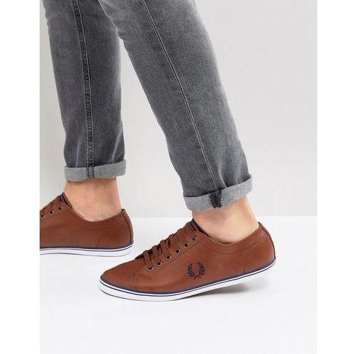 Fred perry kingston leather plimsolls in tan - tan
