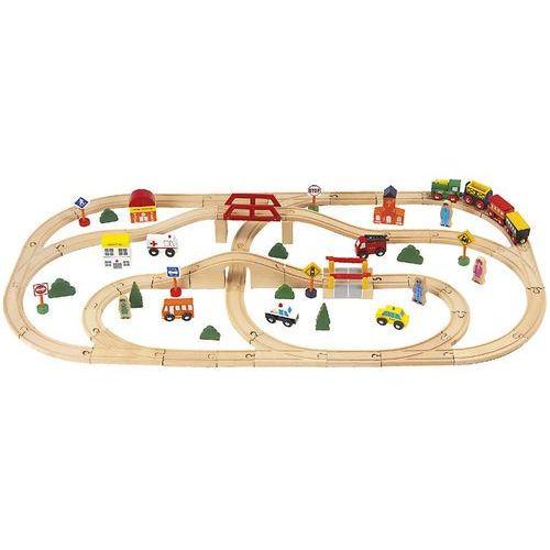 Duża kolejka drewniana | 80 elementów marki Smily play