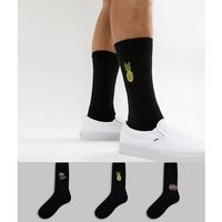 ASOS DESIGN sports style socks in black with neon embroidery 3 pack - Black, kolor czarny