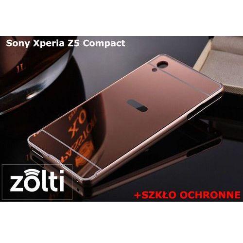 Zestaw | mirror bumper metal case różowy + szkło ochronne perfect glass | etui dla sony xperia z5 compact marki Mirror bumper / perfect glass