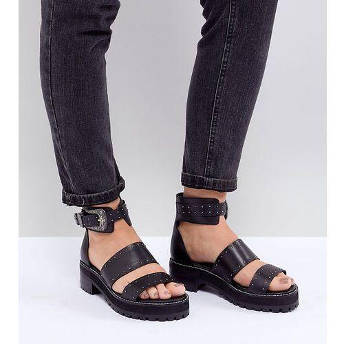 Asos design foxglove wide fit premium leather gladiator flat sandals - black