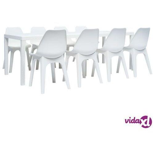 vidaXL 9-częściowy zestaw mebli ogrodowych z plastiku, biały, vidaxl_276135