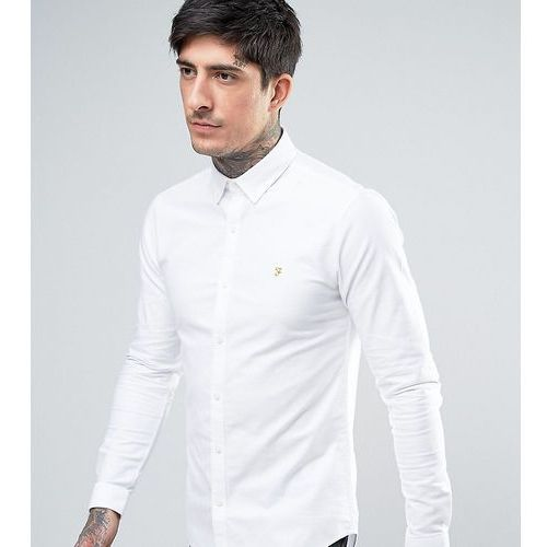 Farah stretch skinny fit buttondown oxford shirt in white - white