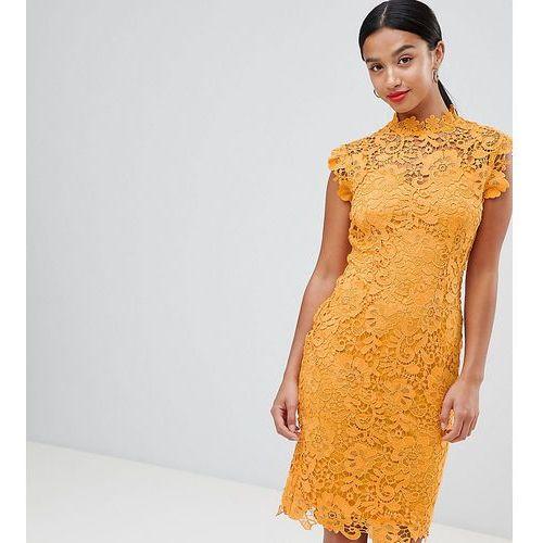 ee6eb764c8 Suknie i sukienki · high neck crochet lace pencil dress - yellow marki Paper  dolls petite