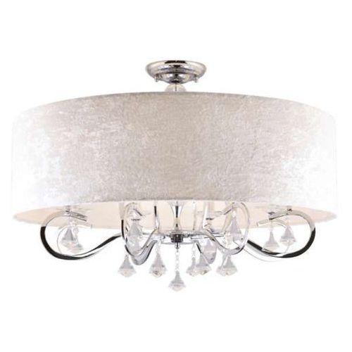 Plafon LAMPA sufitowa AMSTERDAM C C0059 Maxlight klasyczna OPRAWA abażurowa z kryształkami glamour crystal chrom biała, kolor Biały