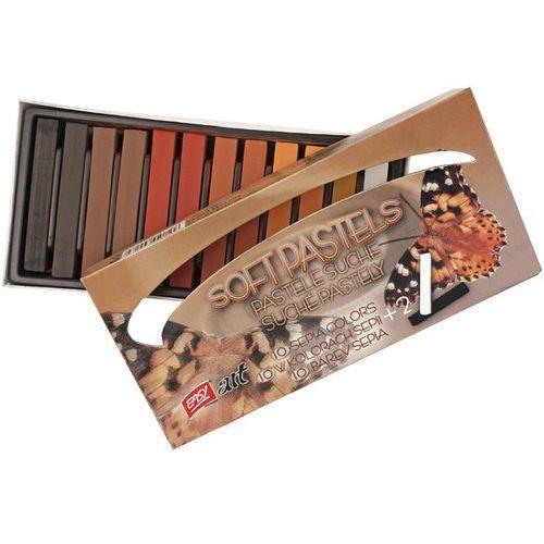Kredki pastelowe EASY 830023 suche 12 kolorów Sepia