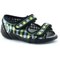Kapcie dla dzieci RenBut 33-378_L-0615 - Zielony ||Granatowy, kolor zielony