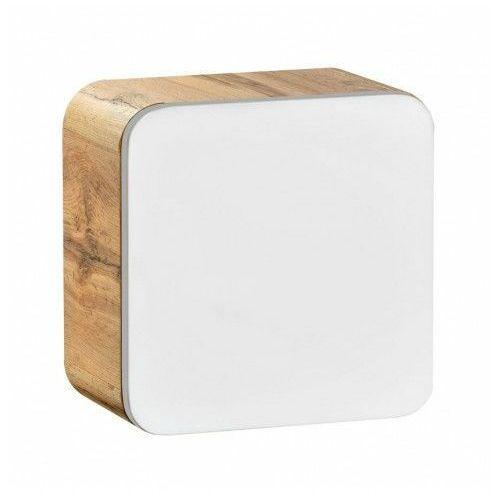 Wisząca kwadratowa szafka łazienkowa Borneo 2X - biały połysk, kolor dąb
