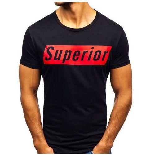 J.style T-shirt męski z nadrukiem czarny denley ky19