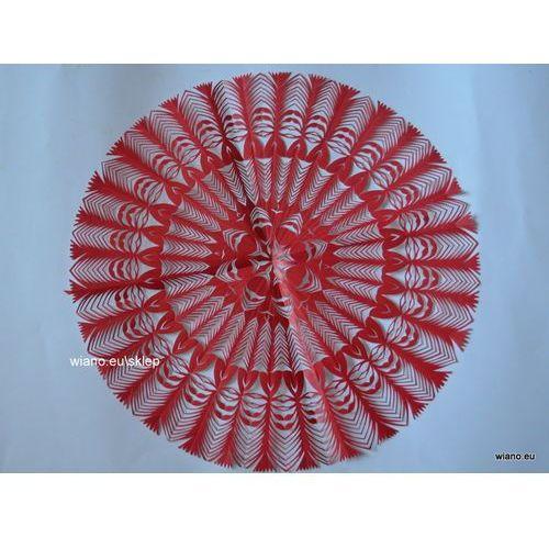 Wycinanka ludowa, kurpiowska, Gwiazda, śred. 34 cm, kolor czerwony (czk-3)