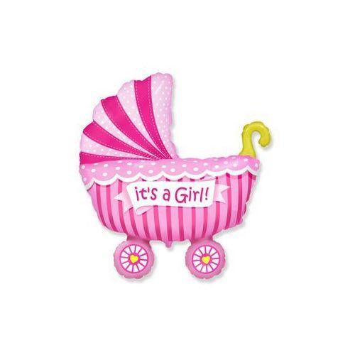 Balon foliowy Wózek różowy - 62 cm - 1 szt. (8435102302479)