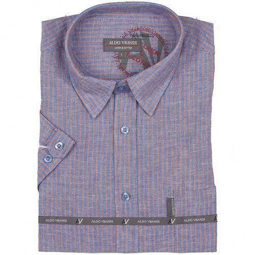Lniana koszula męska z krótkim rękawem Aldo Vrandi, ALkr11-02