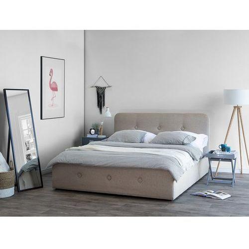 Łóżko beżowe tapicerowane podnoszony pojemnik 160 x 200 cm RENNES