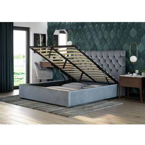 Łóżko tapicerowane 180x200 z pojemnikiem - sfg069 - welur, popiel marki Emwomeble