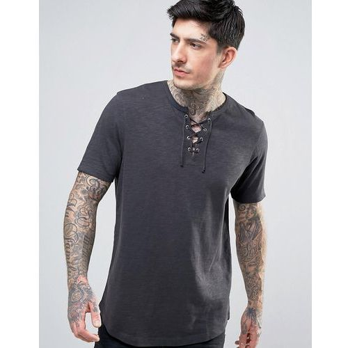 ASOS Longline T-Shirt With Lace Up Neck In Textured Fabric With Curve Hem - Black, kolor czarny