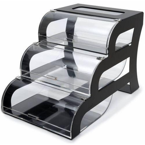 Rosseto Ekspozytor trzy poziomowy w czarnej ramie | 388x591x394mm