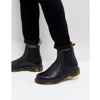 Dr martens faux leather 2976 chelsea boots in black smooth - black