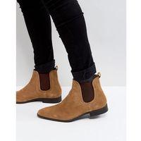 Zign suede chelsea boots in cognac - brown
