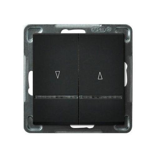 Łącznik żaluzjowy Ospel Sonata ŁP-7RS/M/33 10AX 2200W z podświetleniem czarny metalik
