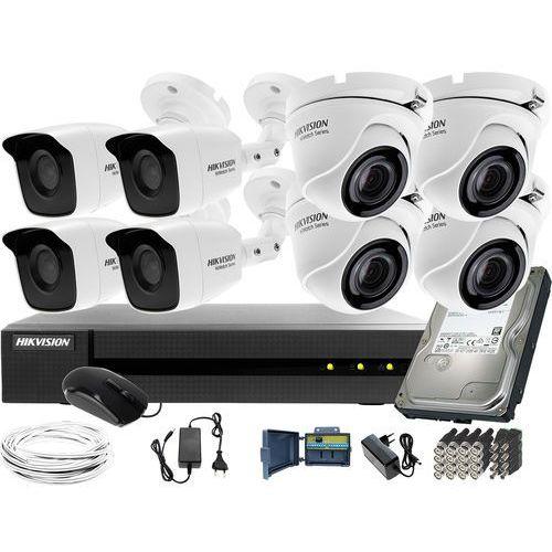Monitoring 8 kamer do przedszkola firmy magazynu 4x hwt-b120-m 4x hwt-t120-m hwd-6108mh-g2 dysk twardy 1tb akcesoria marki Hikvision hiwatch