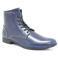 KENT 287 GRANATOWE - Skórzane sztyblety męskie - Granatowy, kolor niebieski
