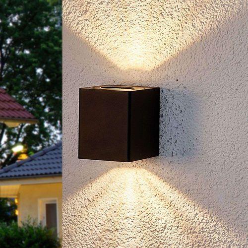 Ciasna kwadratowa lampa zewnętrzna antracytowa wraz z LED IP44 - Lukas
