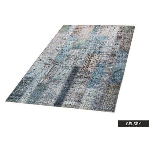 Selsey chodnik patchworkowa flora z odcieniami turkusu 75x300 cm
